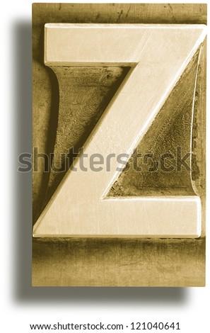 Photograph of Metal Letterpress Sepia Letter Z - stock photo