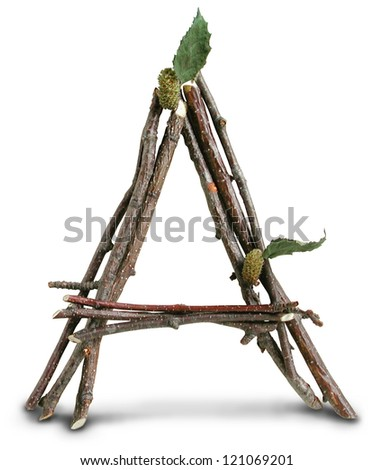 Photograph of Natural Twig and Stick Letter A - stock photo