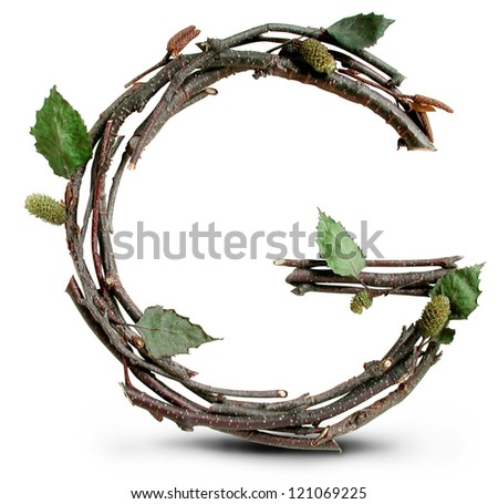 Photograph of Natural Twig and Stick Letter G - stock photo