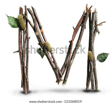 Photograph of Natural Twig and Stick Letter M - stock photo