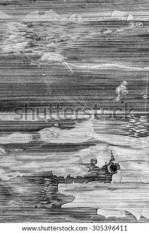 Photograph of obsolete old, weathered, varnished Wooden Laminated Panel, B&W, cracked, scratched, grunge texture. - stock photo