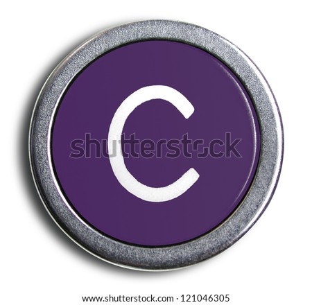 Photograph of Old Typewriter Key Letter C