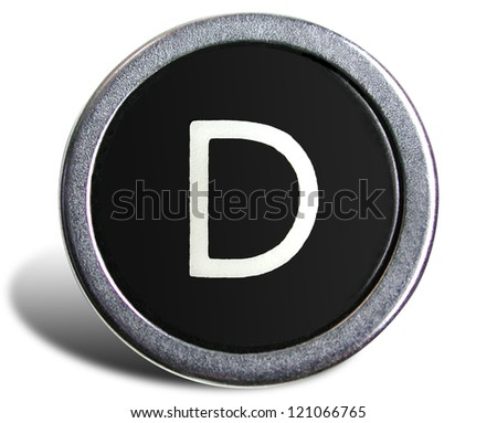 Photograph of Old Typewriter Key Letter D - stock photo
