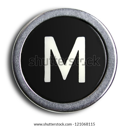 Photograph of Old Typewriter Key Letter M - stock photo