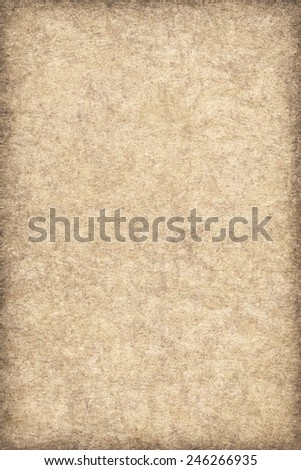 Photograph of Recycle Beige Paper, coarse grain, bleached, mottled, vignette, grunge texture sample