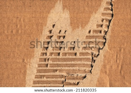 Photograph of recycle Brown corrugated striped cardboard, coarse grain, obsolete, torn, grunge texture sample. - stock photo