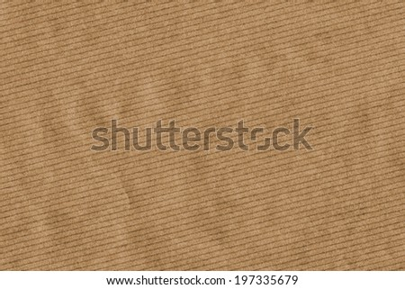Photograph of recycle brown kraft striped paper coarse grain, crumpled grunge texture sample