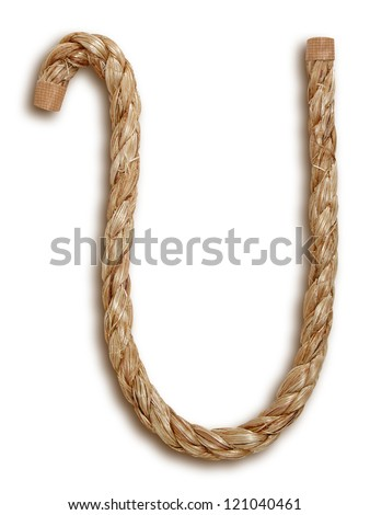 Photograph of Rope Letter U - stock photo