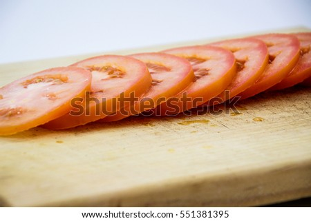 Photograph of some tomato slices detail