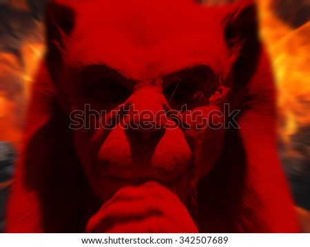 Photograph of stone gargoyle figure with zoom effect and colored red - stock photo