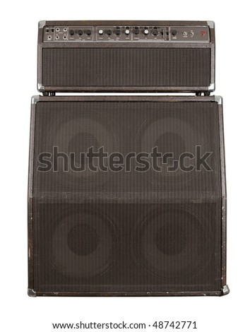 Photograph of the front of a combo guitar amplifier with speaker cabinet. Clipping path included. - stock photo