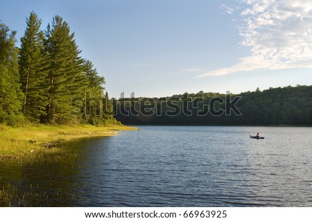 Photograph of the sunny side of a remote northwoods lake in Wisconsin in early evening as the sun dips low in the sky. - stock photo