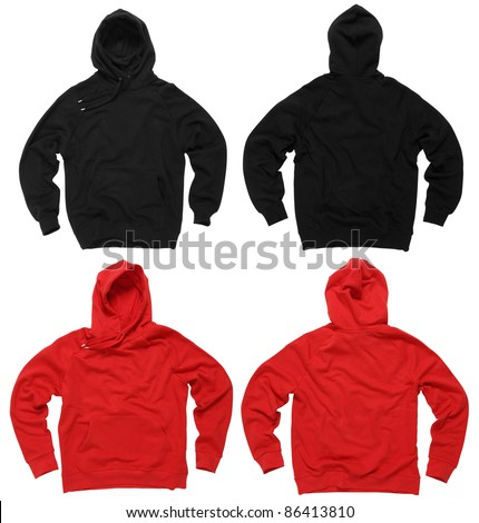 Hoodie template stock images royalty free images vectors photograph of two blank hoodie sweatshirts red and black front and back clipping pronofoot35fo Choice Image