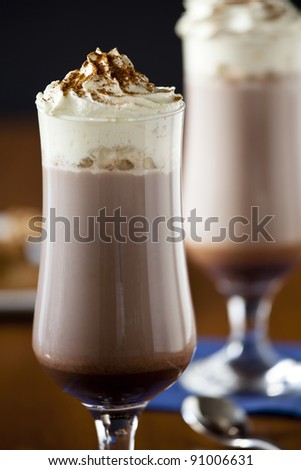 Photograph of two cold chocolate milk shakes