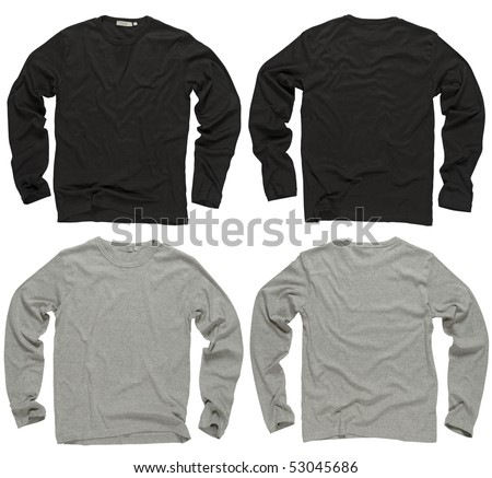 Photograph of two wrinkled blank black and gray long sleeve shirts, fronts and backs.  Clipping path included.  Ready for your design or logo. - stock photo