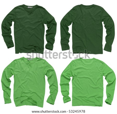 Photograph of two wrinkled blank green and light green long sleeve shirts, fronts and backs.  Clipping path included.  Ready for your design or logo. - stock photo