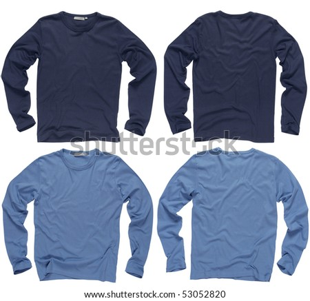 Photograph of two wrinkled blank navy and light blue long sleeve shirts, fronts and backs.  Clipping path included.  Ready for your design or logo. - stock photo