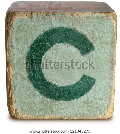 Photograph of Wooden Block Letter C