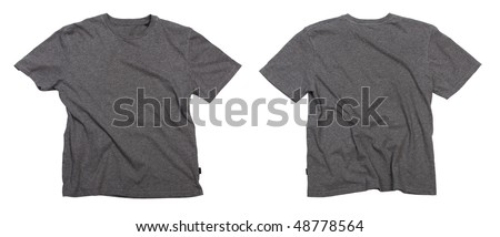 Photograph of wrinkled blank grey t-shirt - front and back view, isolated on white background. Clipping path included. Ready for your design or logo. - stock photo