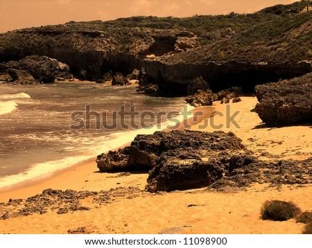 Photograph taken featuring dramatic coastal scenery at Robe, South Australia. - stock photo