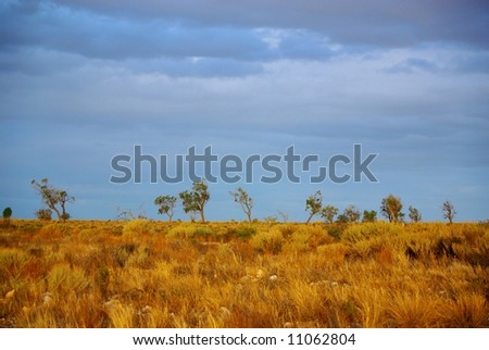 Photograph taken from the Sturt Highway in the Mallee Desert under a rare stormy sky (South Australia). - stock photo