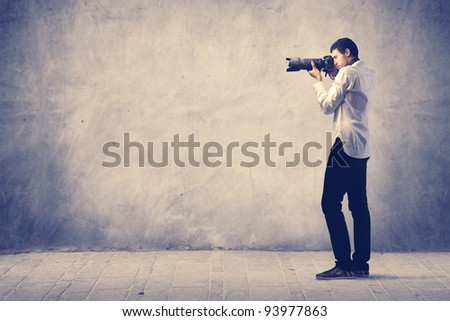 Photograph using a reflex camera - stock photo