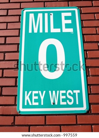 Photographed mile marker sign at the end of U.S. 1 in Florida. - stock photo