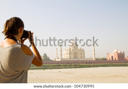 Photographer at Taj Mahal - stock photo