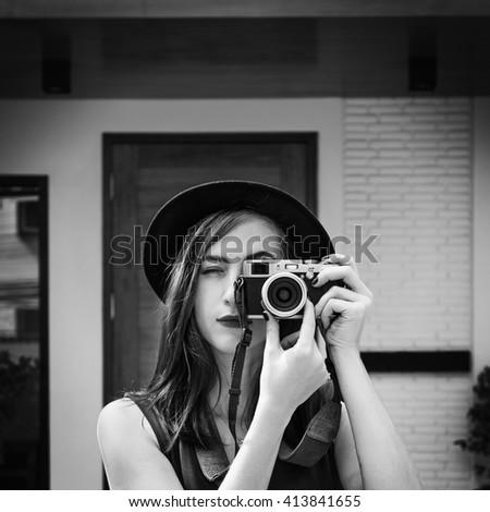 Photographer Camera Casual Leisure Trendy Trip Concept - stock photo