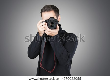 Photographer, Camera, Photographing. - stock photo