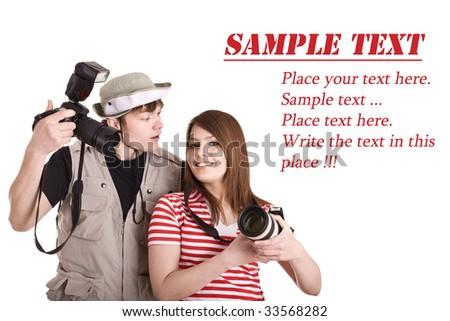 Photographer couple with digital camera. Isolated. - stock photo