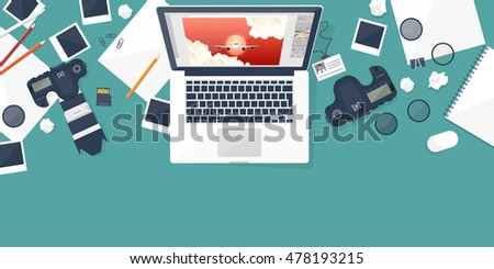 Photographer equipment on a table. Photography tools, photo editing, photoshooting flat background. Photocamera. Workplace. Digital camera.
