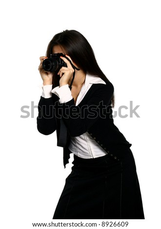 photographer girl - stock photo