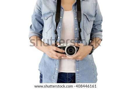 photographer girl taking picture on vintage camera, traveling holiday Photography Concept,  isolated  and clipping path inside - stock photo