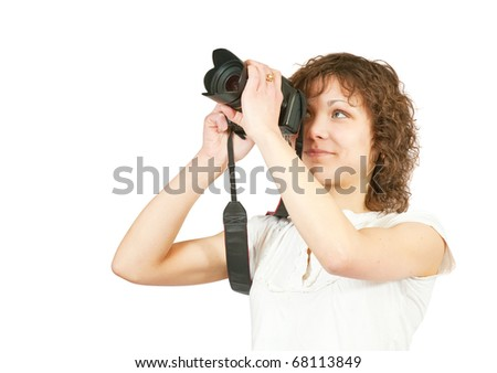 photographer girl with camera. Isolated over white background - stock photo