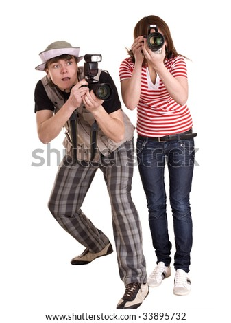 Photographer group with digital camera. Isolated. - stock photo