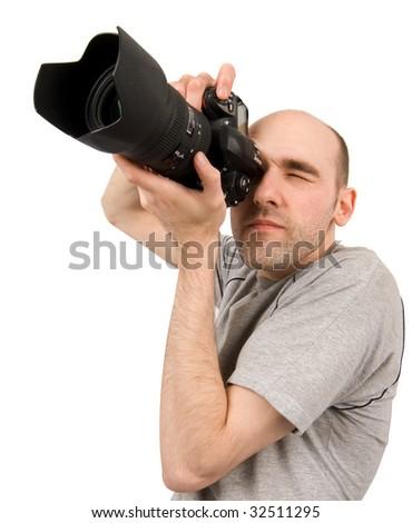 Photographer. Isolated on white background - stock photo