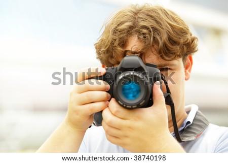 Photographer. Shallow DOF! - stock photo