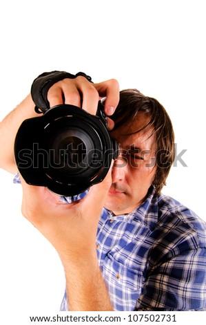Photographer shot isolated - stock photo
