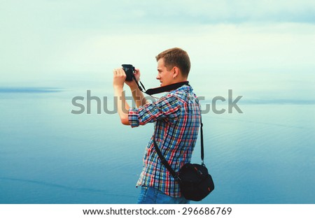 photographer takes nature - stock photo