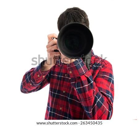 Photographer taking a photo - stock photo