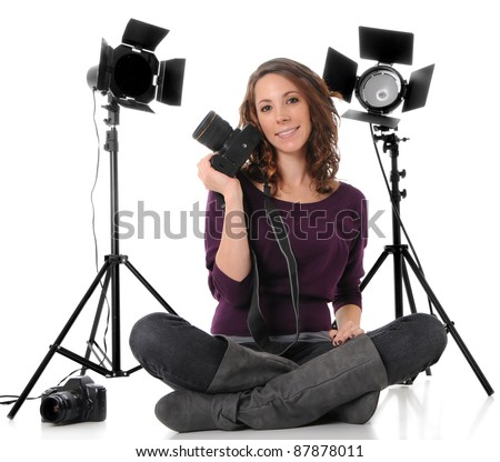 Photographer with Camera and Studio lights - stock photo