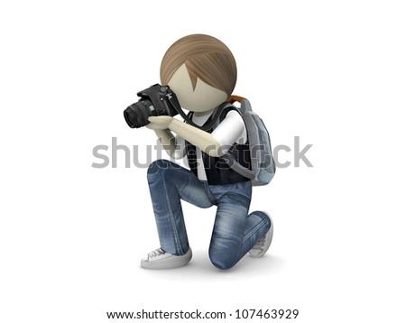 Photographer with camera on white background - stock photo