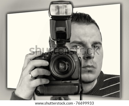 Photographer with the camera portrait - stock photo