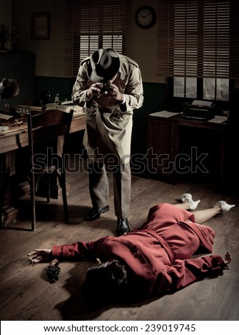 Photographer with vintage camera on crime scene with dead woman lying on the floor, film noir scene. - stock photo