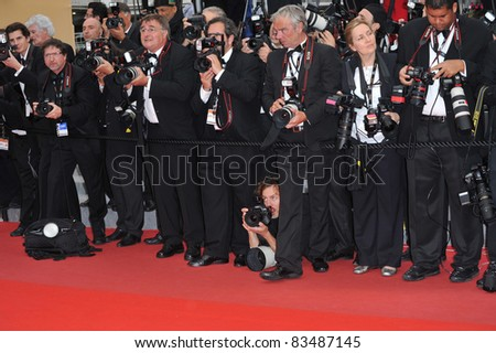 "Photographers at the premiere of Woody Allen's ""You Will Meet A Tall Dark Stranger"" at the 63rd Festival de Cannes. May 15, 2010  Cannes, France Picture: Paul Smith / Featureflash - stock photo"