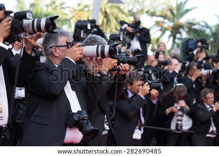 Photographers at the 'Sicario' premiere during the 68th annual Cannes Film Festival on May 19, 2015 in Cannes, France. - stock photo