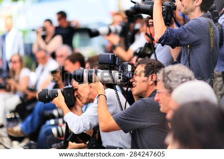Photographers attend 'Mon Roi' Photocall during the 68th annual Cannes Film Festival on May 17, 2015 in Cannes, France. - stock photo