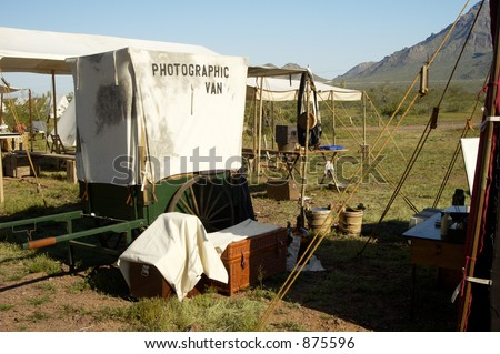 Photographers booth in a civil war encampment. - stock photo