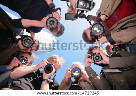 photographers on object - stock photo